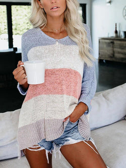 Color Block Paneled Casual Sweater