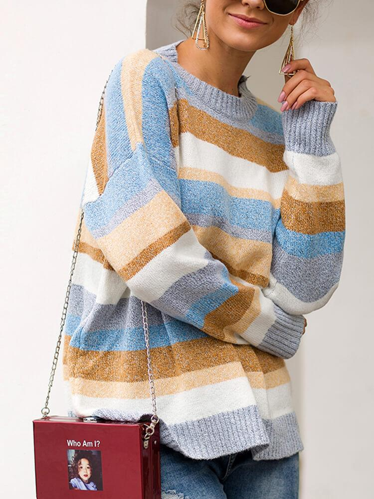Daily Crew Neck Stripe Knitted Sweater