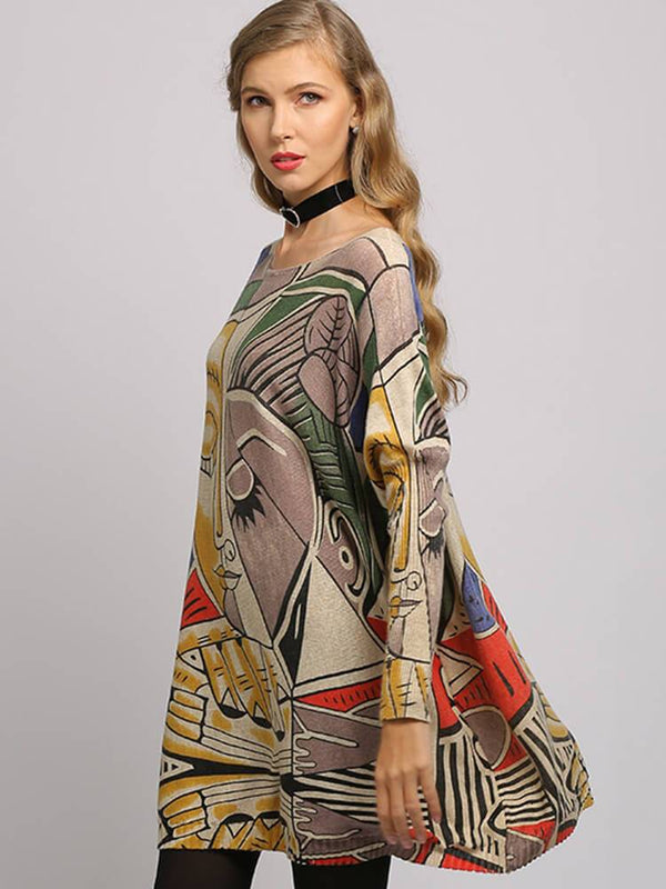 Vintage Printed Crew Neck Casual Tunics