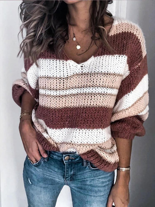 Stripe V Neck Long Sleeve Sweater