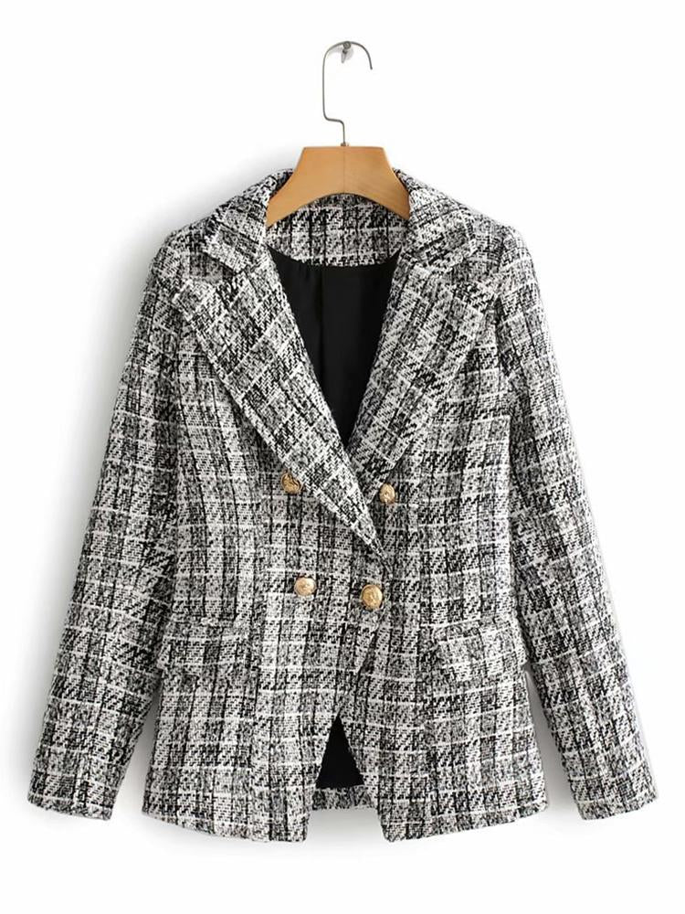 Sheath Plaid Work Blazers With Skirt Two-piece Set