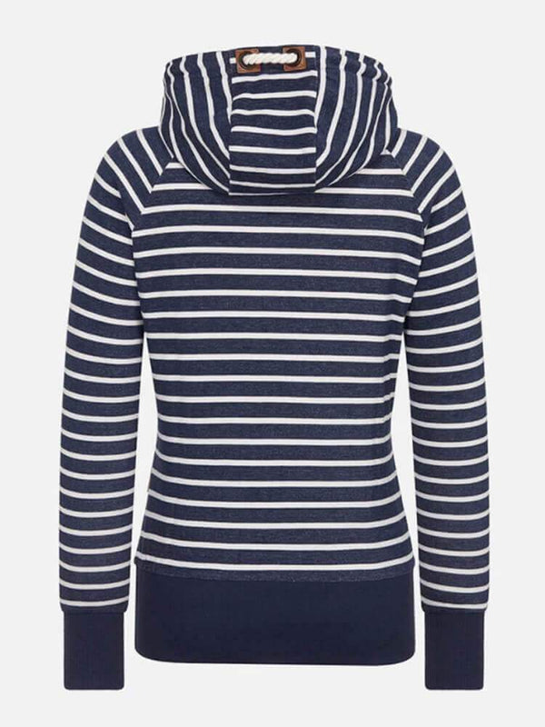 Striped Drawstring Long Sleeve Hoodie