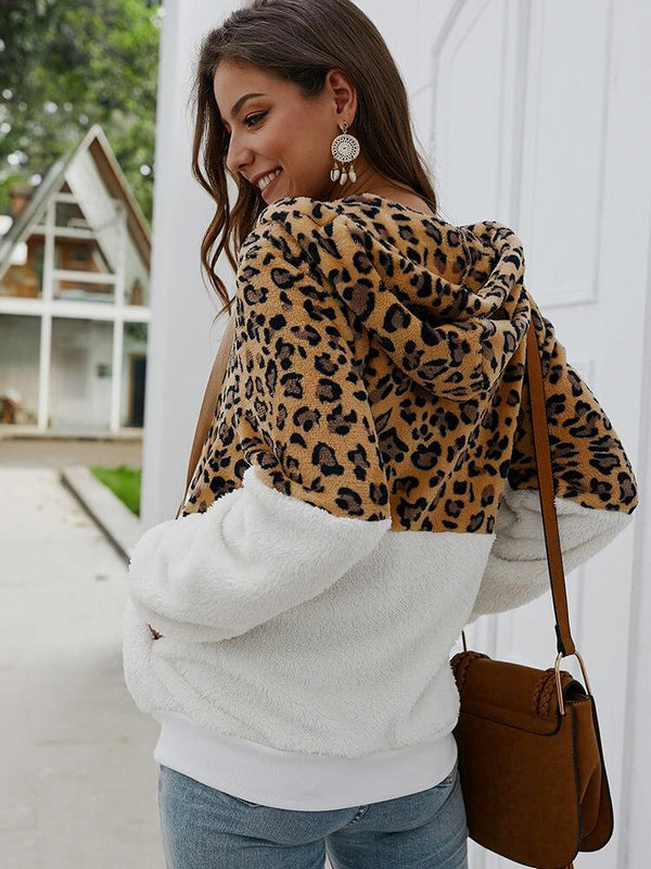 Leopard Zipper Patchwork Hooded Coat