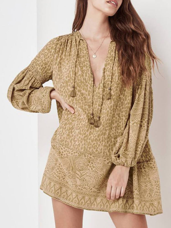 Leopard Printed Long Sleeve Mini Dress