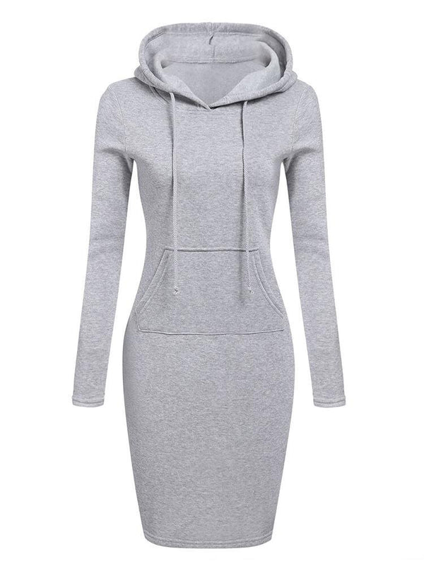 Casual Bodycon Hooded Sweatshirt Dress