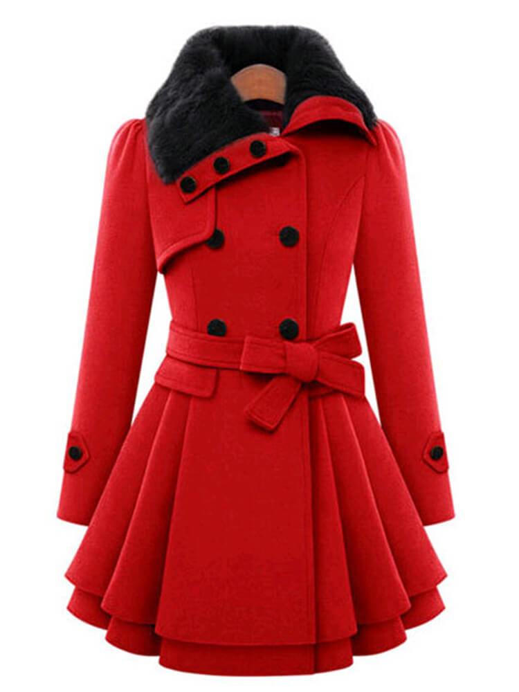 Elegant A-line Winter Warm Date Trench Coats