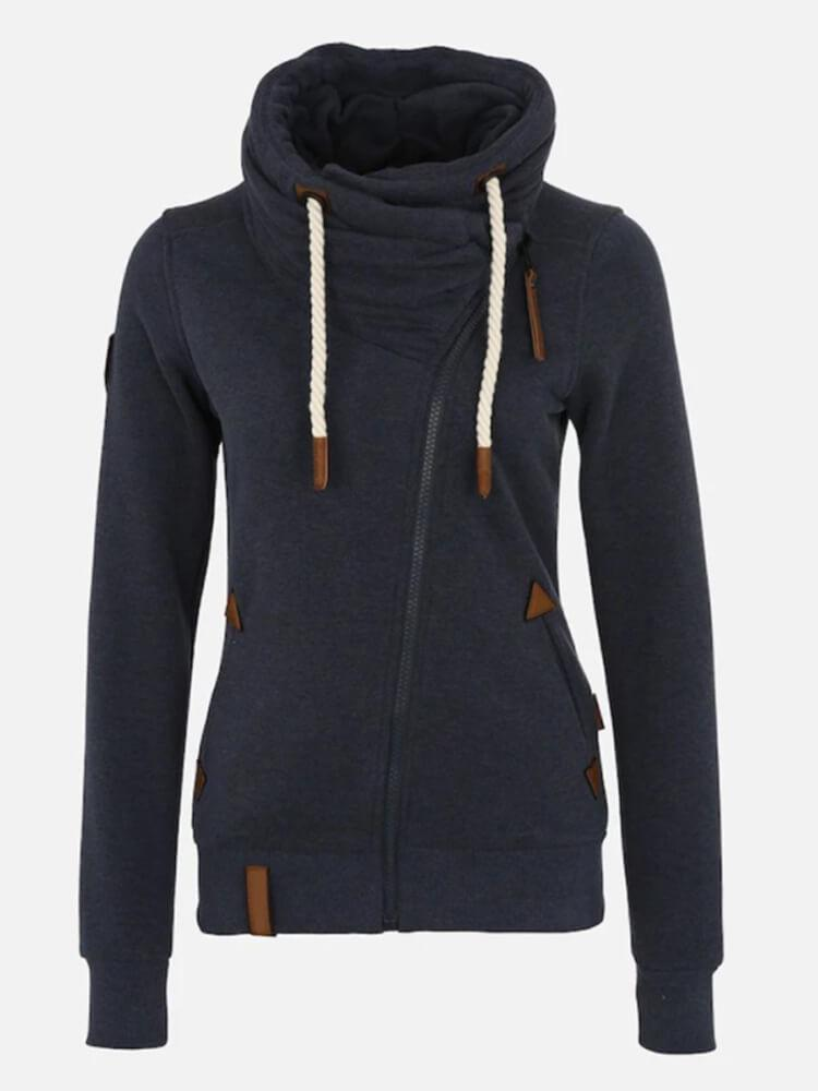Zipper Pockets Shawl Collar Long Sleeve Solid Color Hoodie
