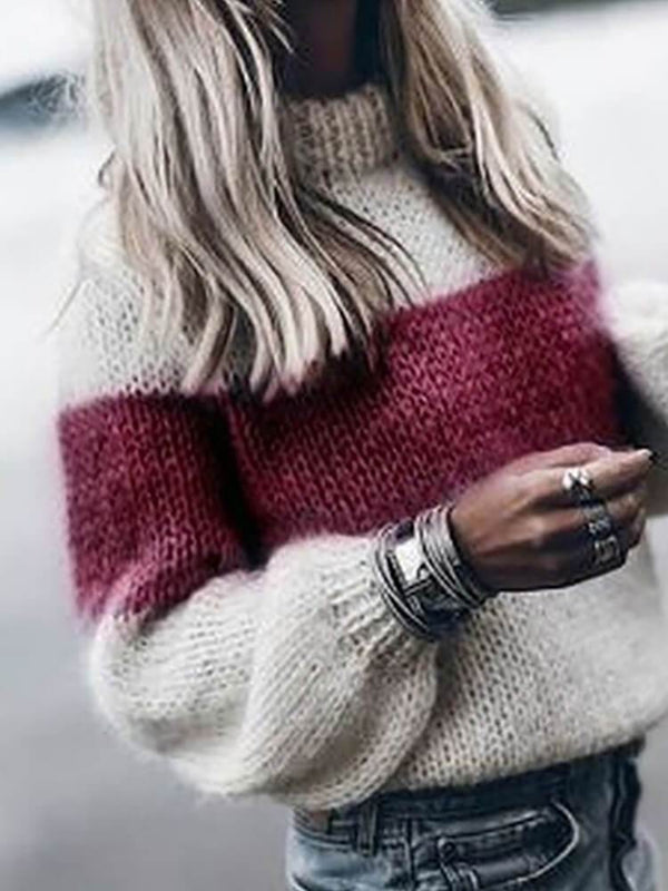 Crew Neck Long Sleeve Women Knitted Sweater
