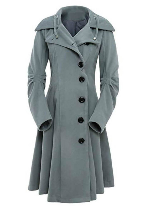 A-line Solid Color Hooded Women Winter Coats