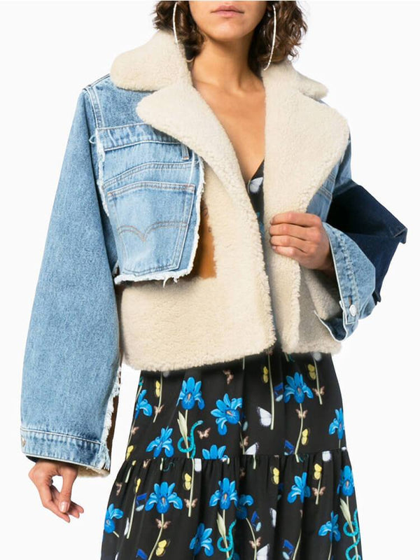 Denim Biker Paneled Cropped Jackets