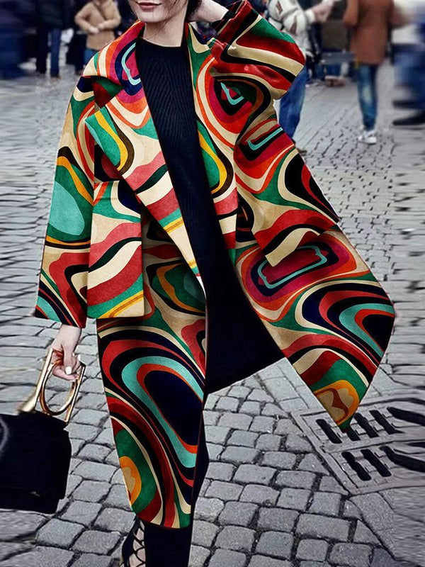 Shawl Neck Abstract Pattern Work Coat