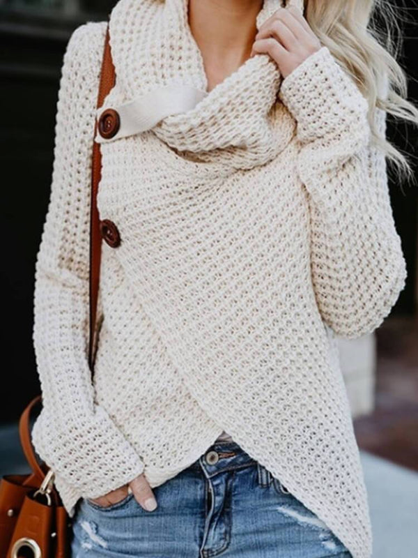 Asymmetrical Knit Long Sleeve Sweater