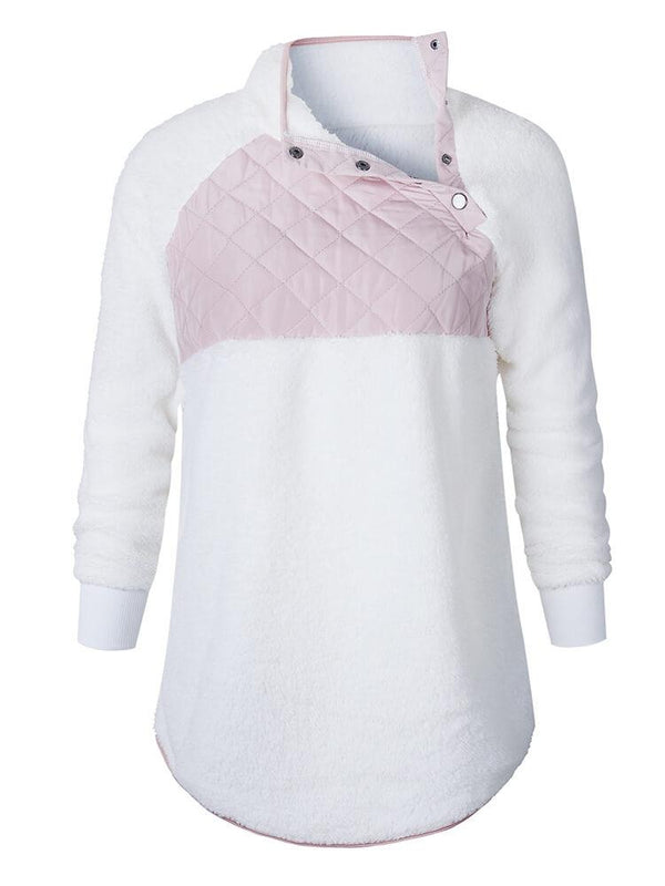 Stand Collar Paneled Daily Sweatshirt