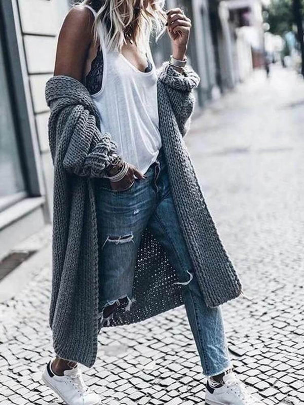 Grey Knit Cardigan Long Sweater Coats