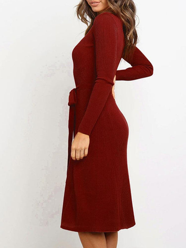 Sheath Long Sleeve Plain Dress with Belt
