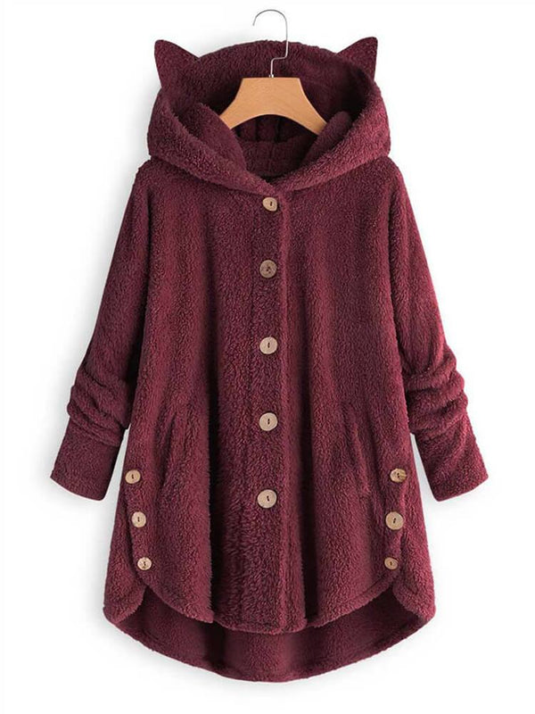 Solid Plush Hooded Asymmetrical Hem Coat