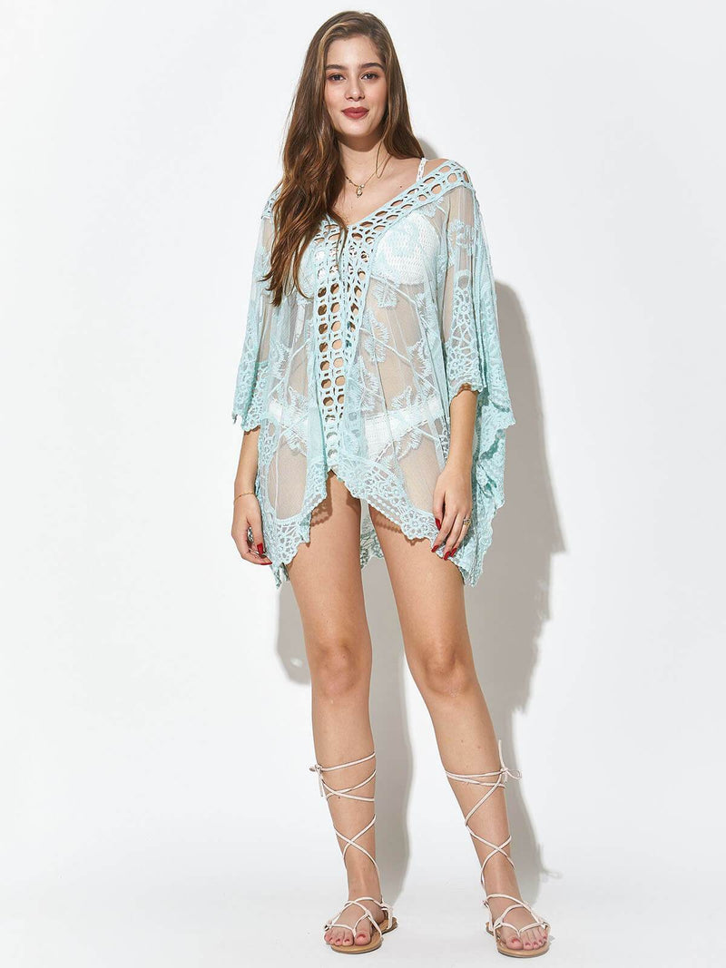 Backless Embroidered Sexy See-through Cover Up, JPLILY