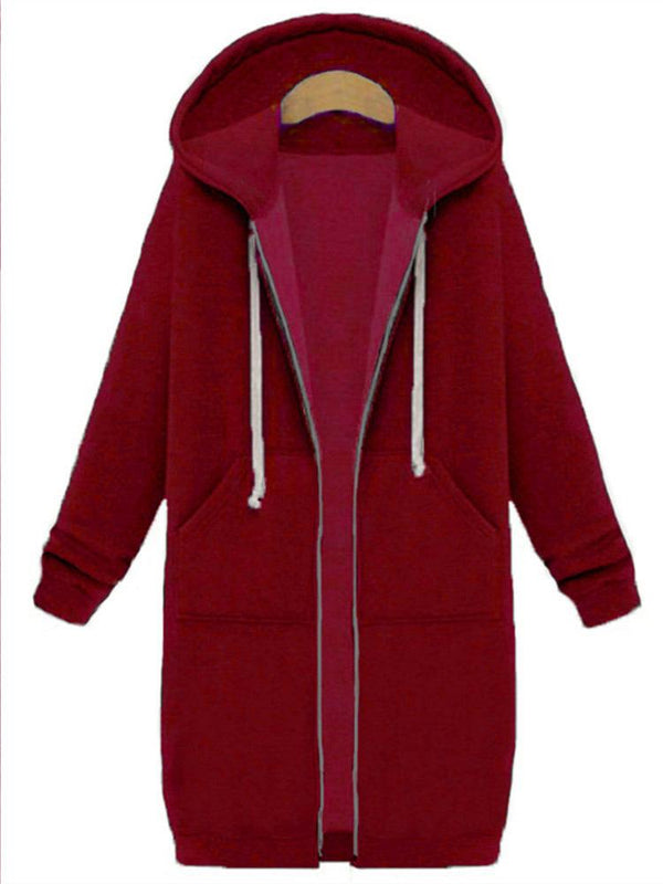 Women Casual Long Sleeve Zipper Pockets Hooded Coat