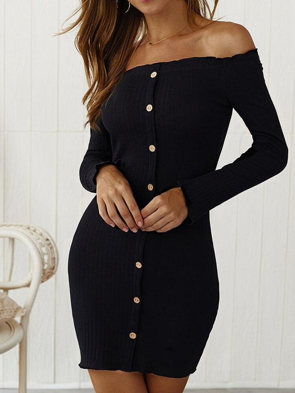 Off Shoulder Button Bodycon Mini Dress