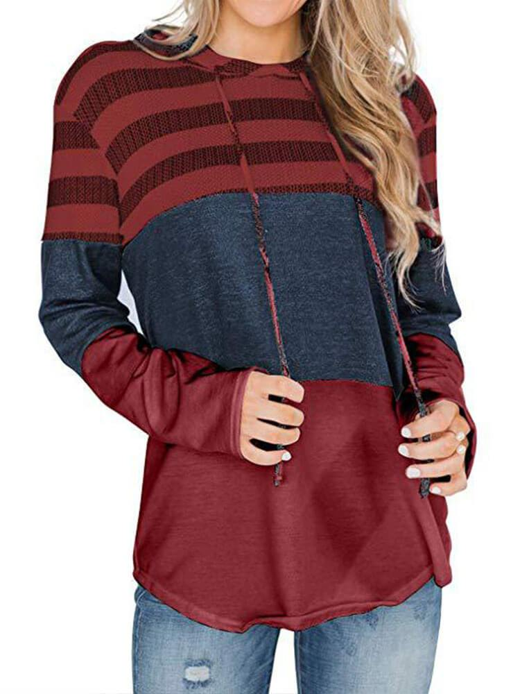 Color Block Paneled Long Sleeve Casual Hoodies