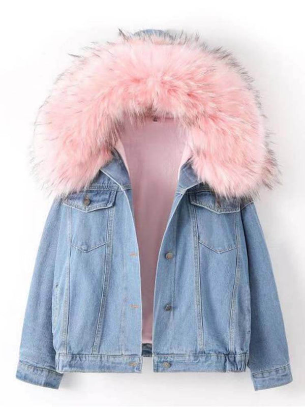 Women's Winter Hooded Denim Jacket
