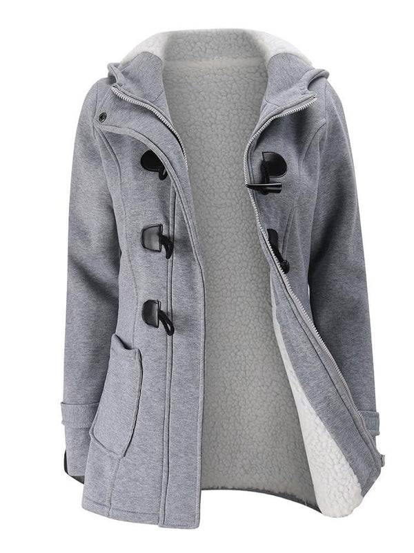 Women Horn Buttons Long Sleeve Hooded Coat
