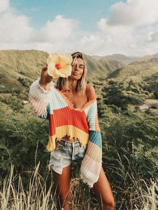 V-neck Knitting Striped Rainbow Sweater Tops
