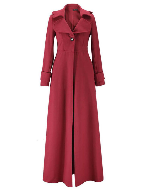 Elegant Solid Color Women Long Trench Coat