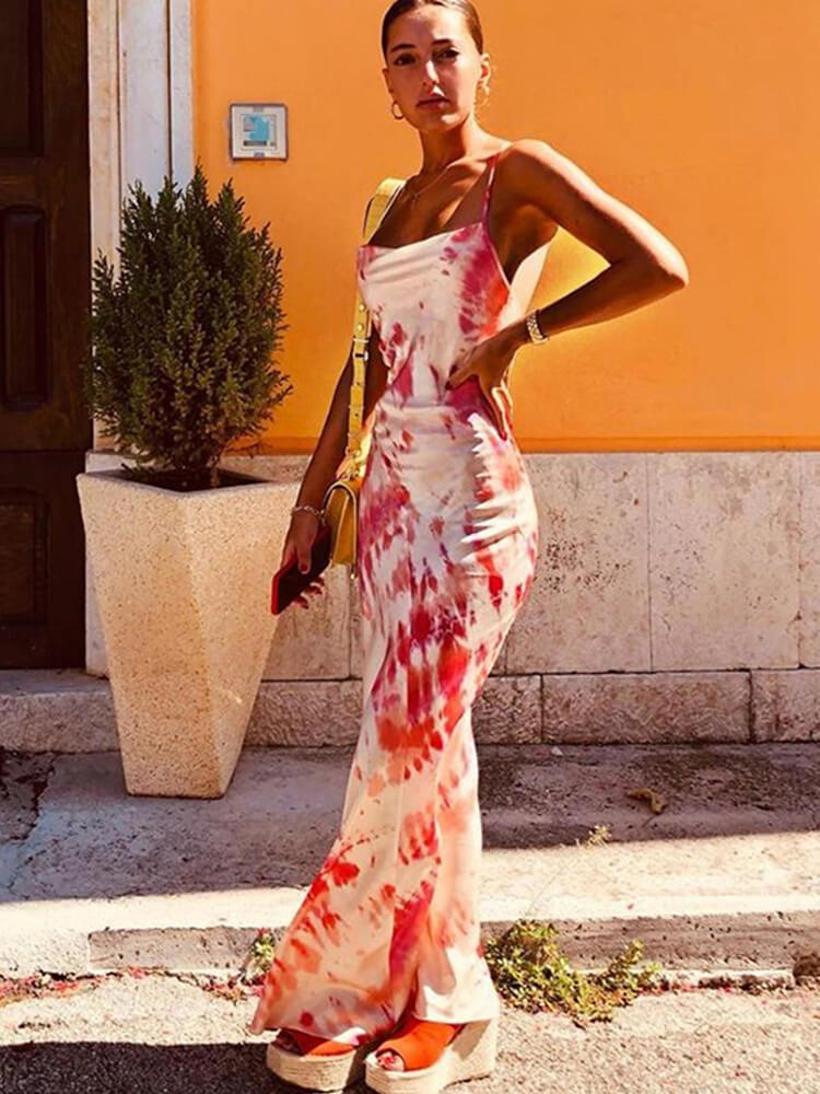 Spaghetti Printed Holiday Backless Bodycon Dress