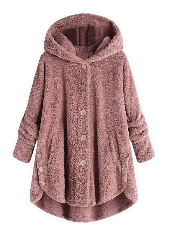 Winter Hooded Asymmetrical Hem Button Coat