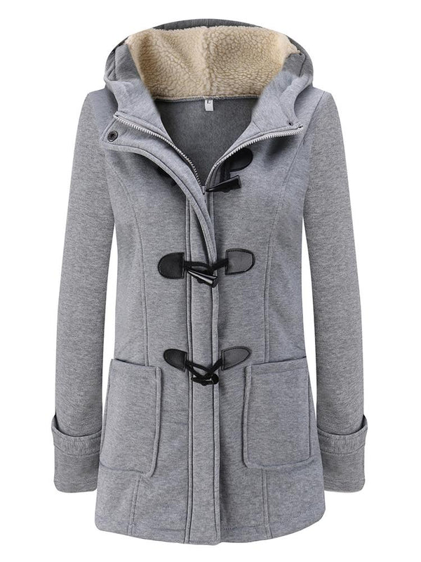Horn Button Pocket Hooded Casual Coat