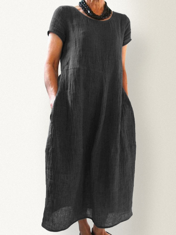Summer Pockets Round Neck Shift Linen Dress