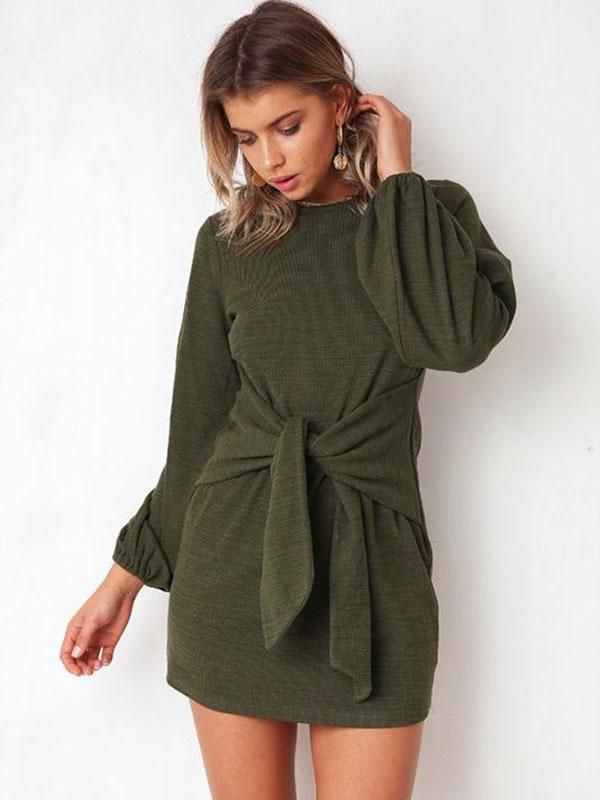 Casual Knot Front Plain Shift Dress