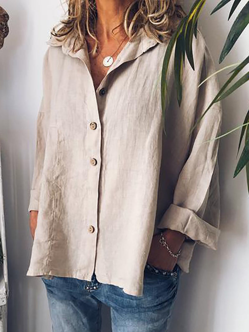 Beige Shirt Collar Cotton Solid Casual Blouses
