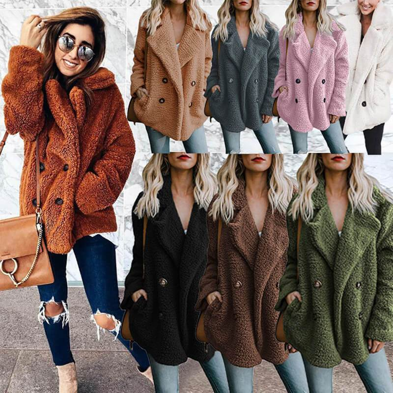 Winter Button Casual Shawl Collar Coat