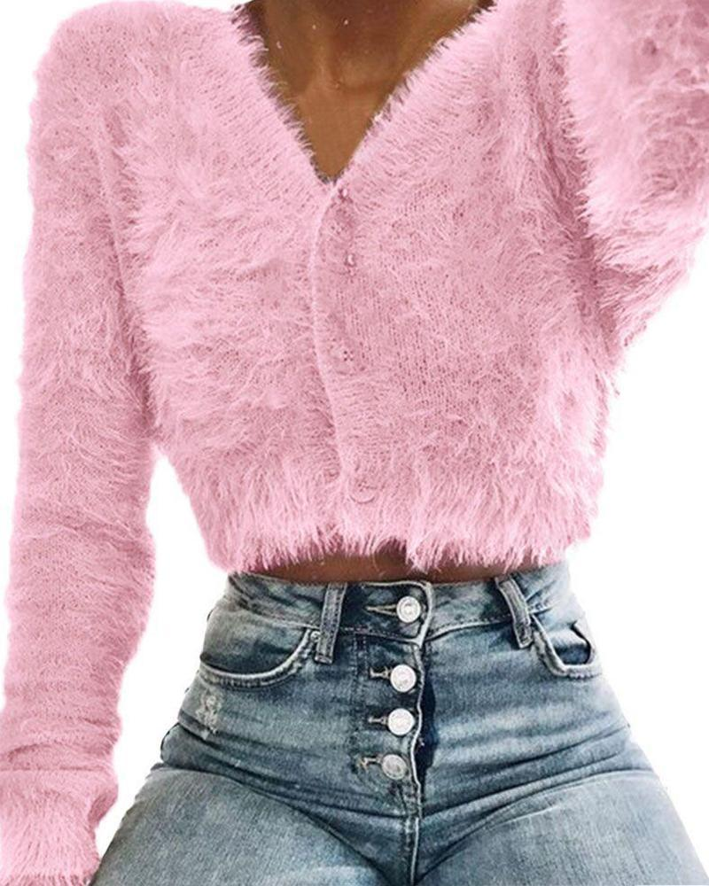V-Neck Fluffy Knitting Sweater