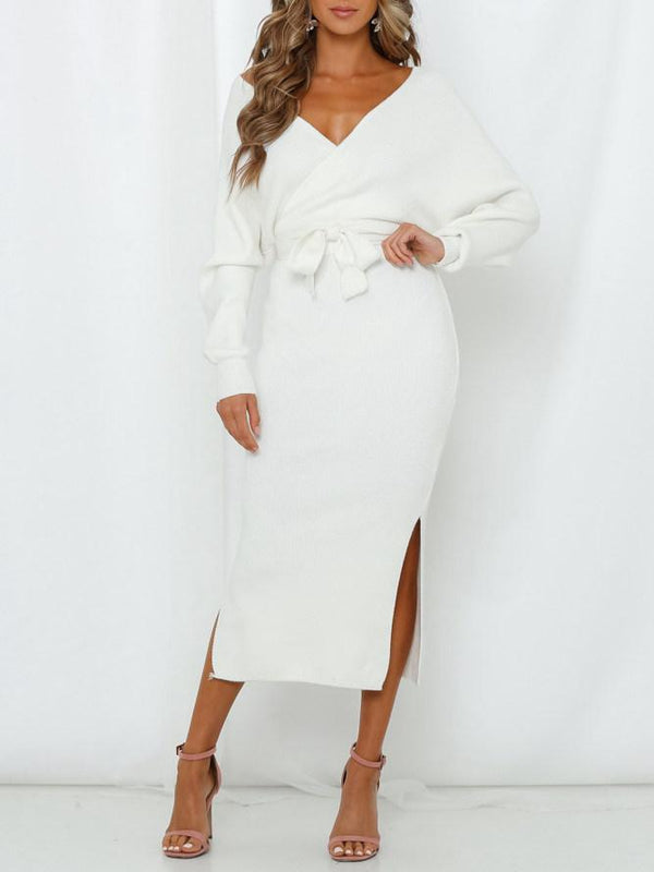 Deep V Open Back Pencil Skirt Slim Midi Dress White