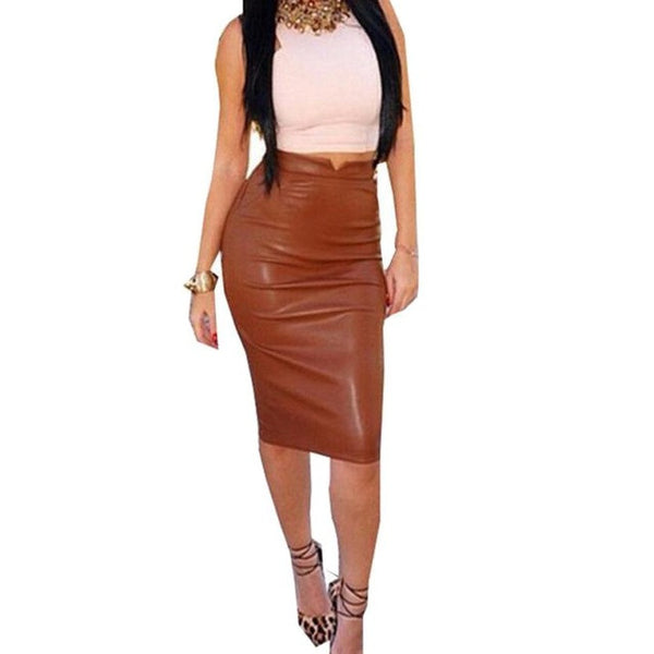 Women High Waist Classic Faux Leather Skirt