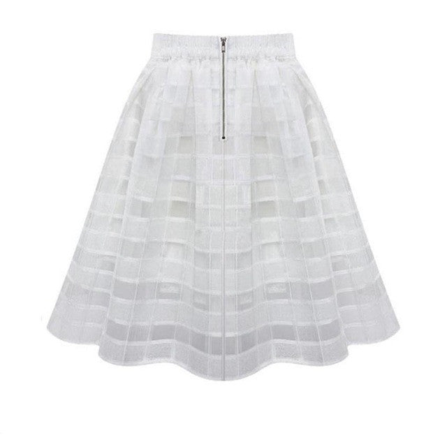 JECKSION High Waist Women's Organza Skirts