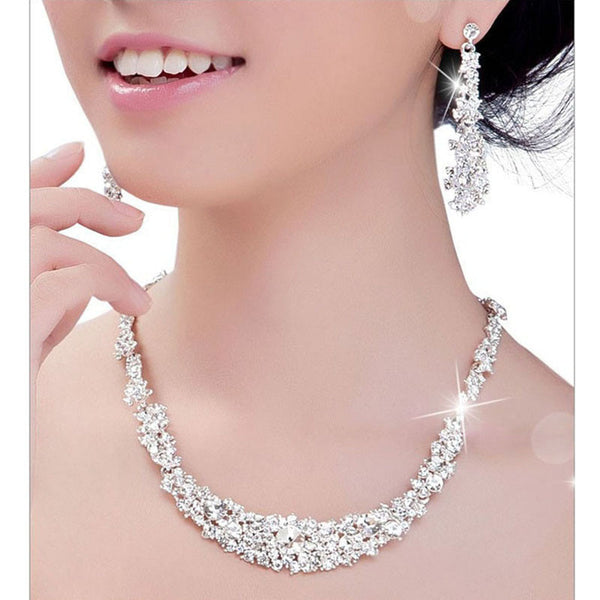 Crystal Bridal Jewelry Sets: Necklace + Earrings