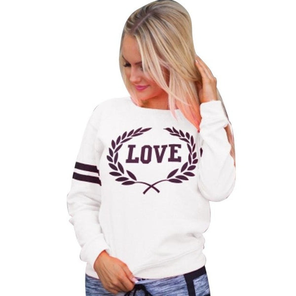 Autumn Sweatshirt Womens Pullover Tops Casual Love Letters Printed