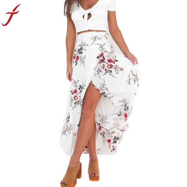 Flower Printing Long  Women's Elegant Beach Maxi Skirt