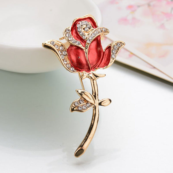 Crystal Red Rose Pins Rhinestone Flower Brooch