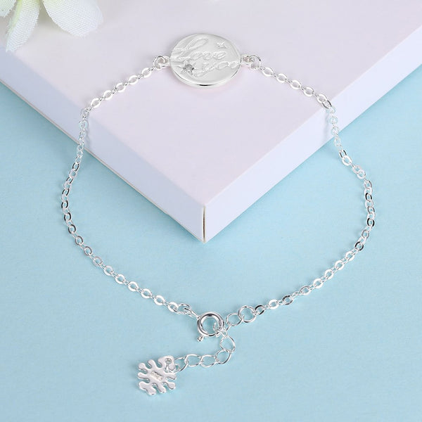 S925 Sterling Silver Ladies Cute Round Jewelry Bracelet Jewelry