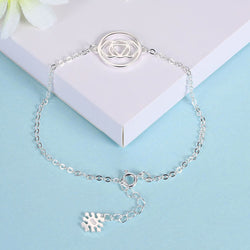 S925 Sterling Silver Ladies Simple Fashion Round Jewelry Bracelet