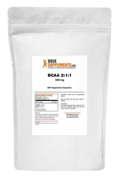 BCAA 2:1:1 (Branched Chain Amino Acids) Capsules - BulkSupplements.com