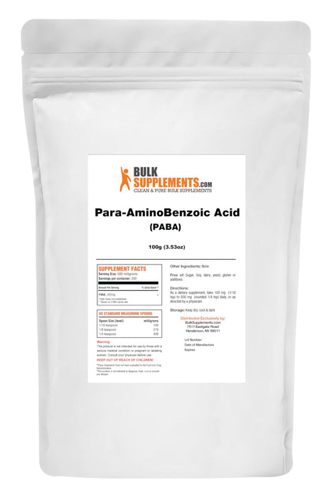 Para-AminoBenzoic Acid (PABA) Powder-BulkSupplements.com