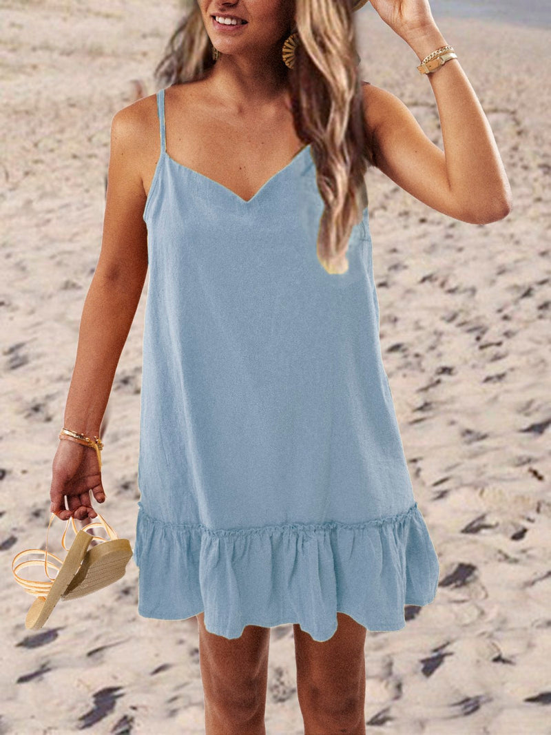 Casual Sleeveless V Neck Plus Size Dress