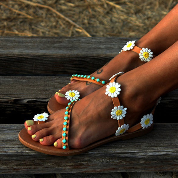 Women Flower Sandals Casual Comfort Plus Size Flip Flop Shoes