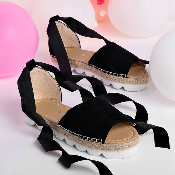 Plus Size Espadrilles Sandals Peep Toe Lace Up Summer Platform Sandals